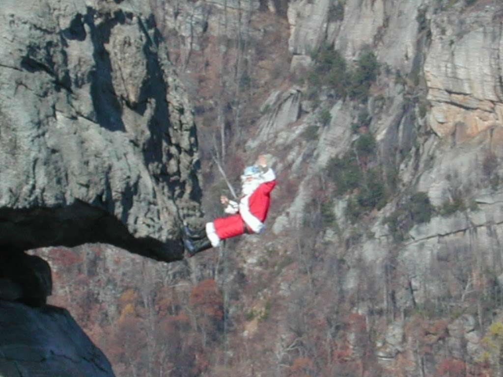 Santa Climbs Chimney Rock on Dec. 5 and 12