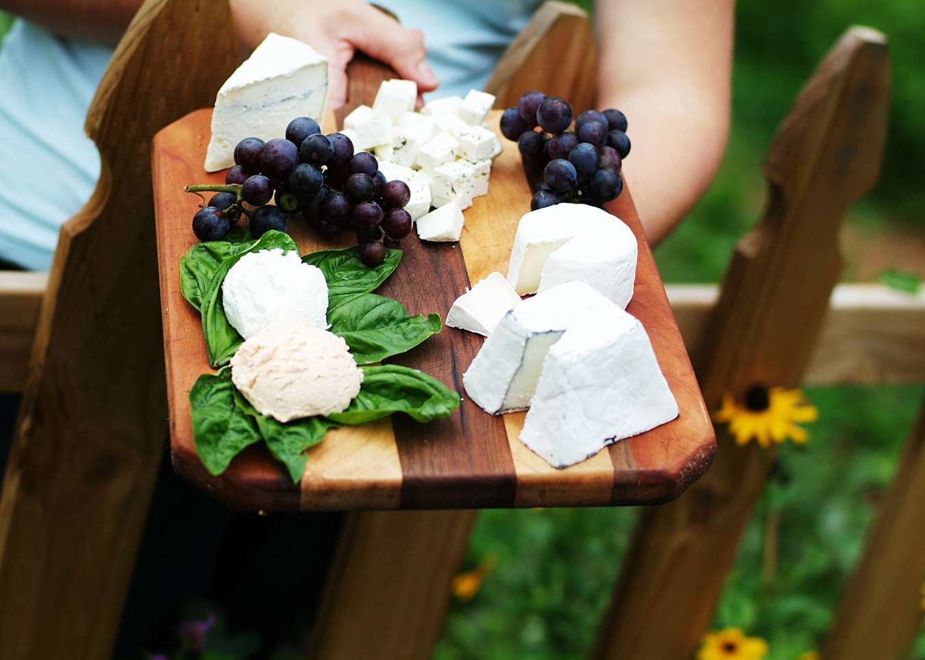 A beautiful selection of cheeses from Looking Glass Creamery in Asheville.