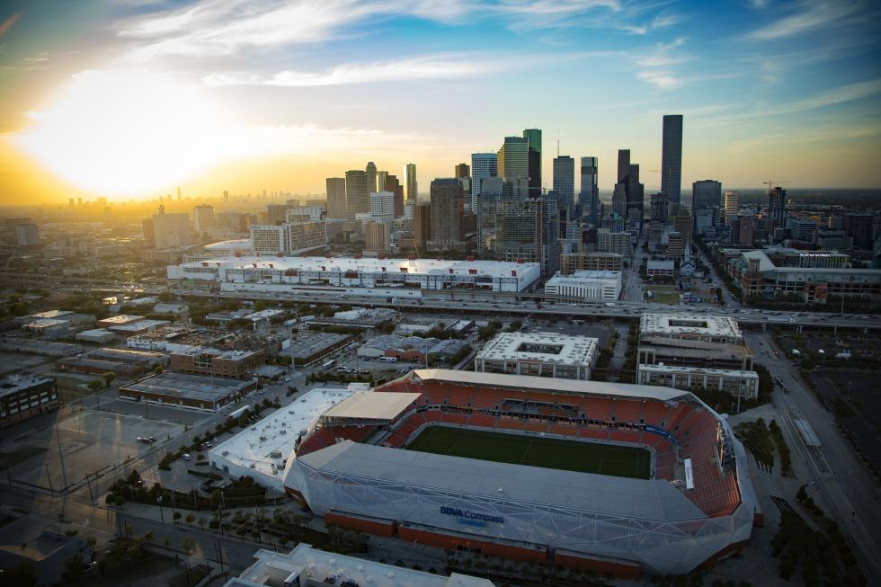 Houston Skyline Dynamo Stadium at Dusk