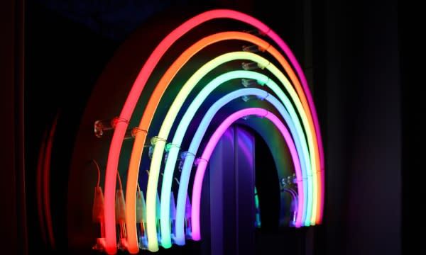 Pride Houston rainbow neon lights