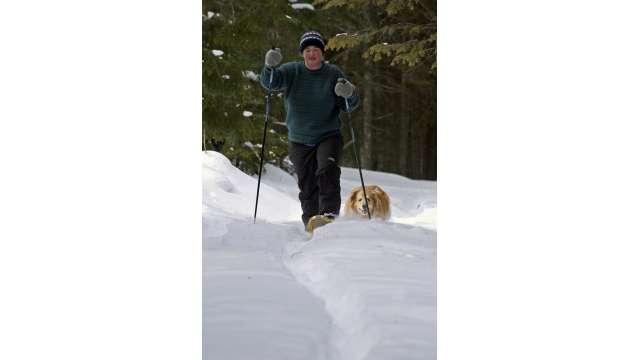 Snowshoeing near inlet in the Adirondacks