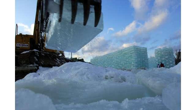 Building Ice Castle for Saranac Lake Winter Carnival