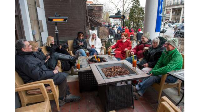 On porch balcony at Maestro's located in Historic Rip Van Dam Hotel during Chowderfest-Saratoga Springs
