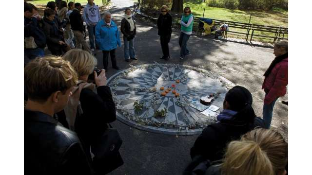 Memorial to John Lennon in Strawberry Fields section of Central Park