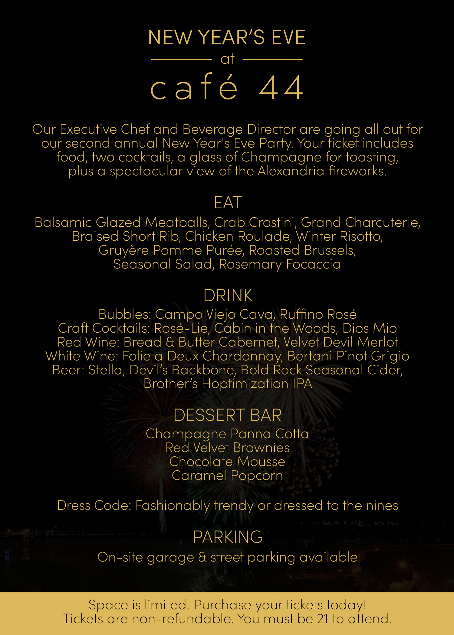 new years eve at cafe 44 alexandria va 22314