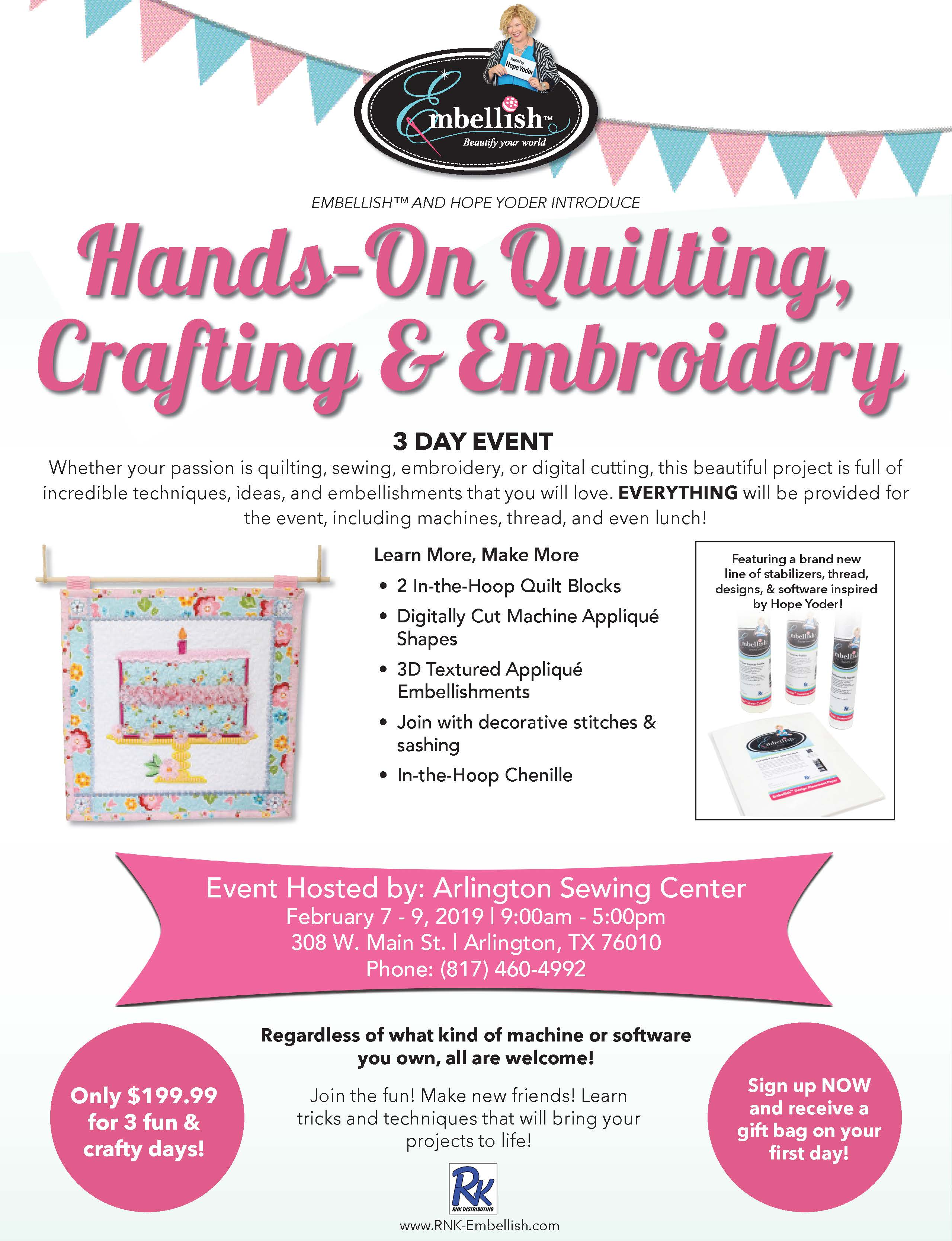 Hands On Crafting Sewing Embroidery Workshop