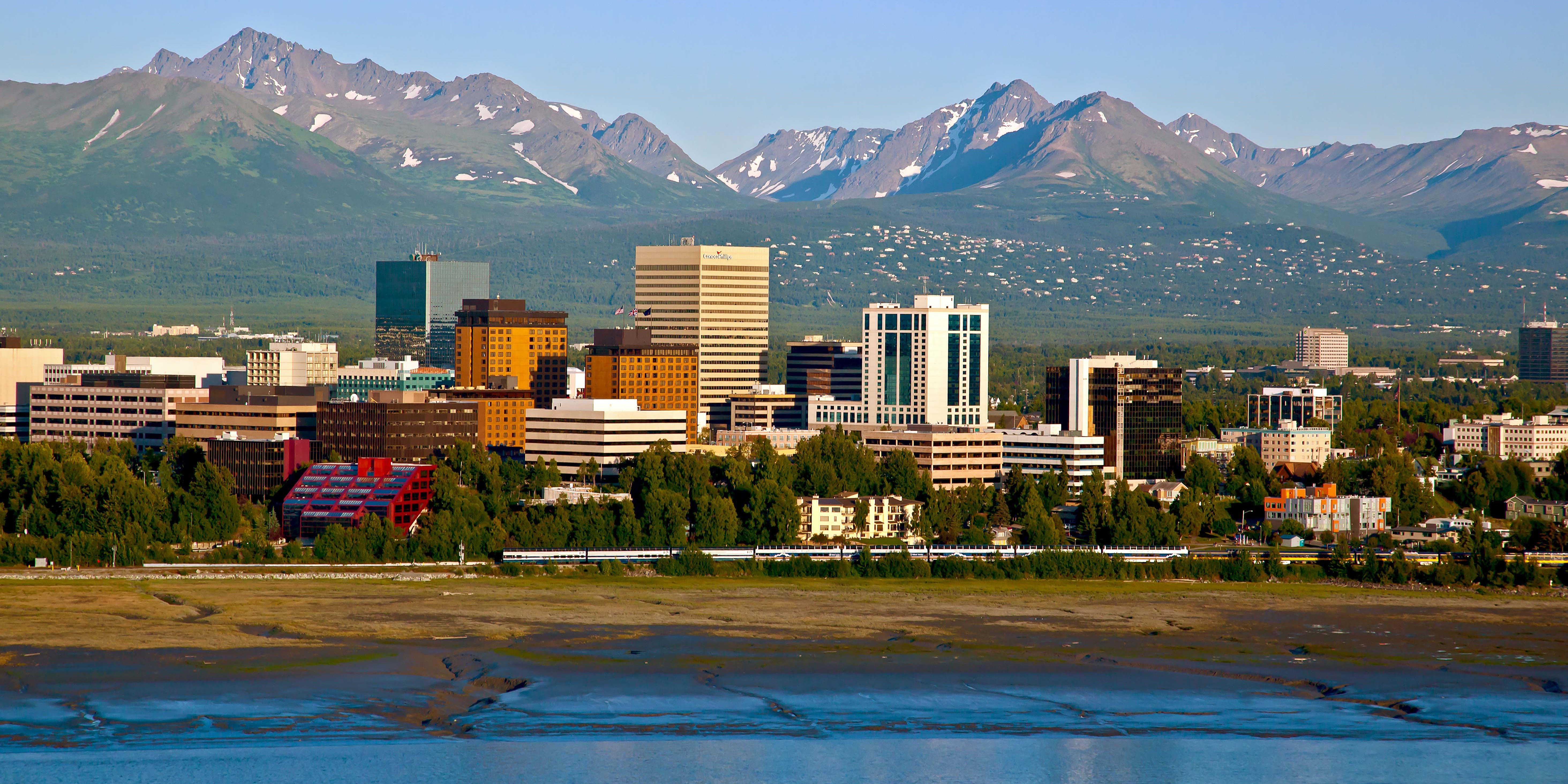Anchorage skyline with the Chugach Mountains