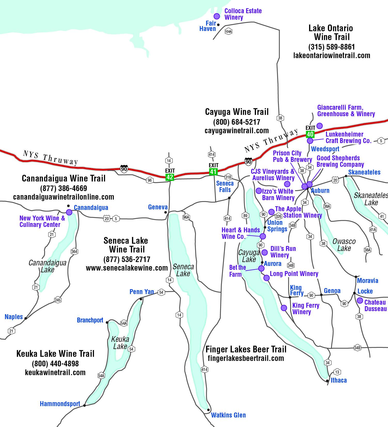 New york cayuga county - Wine Trail Map Jpg