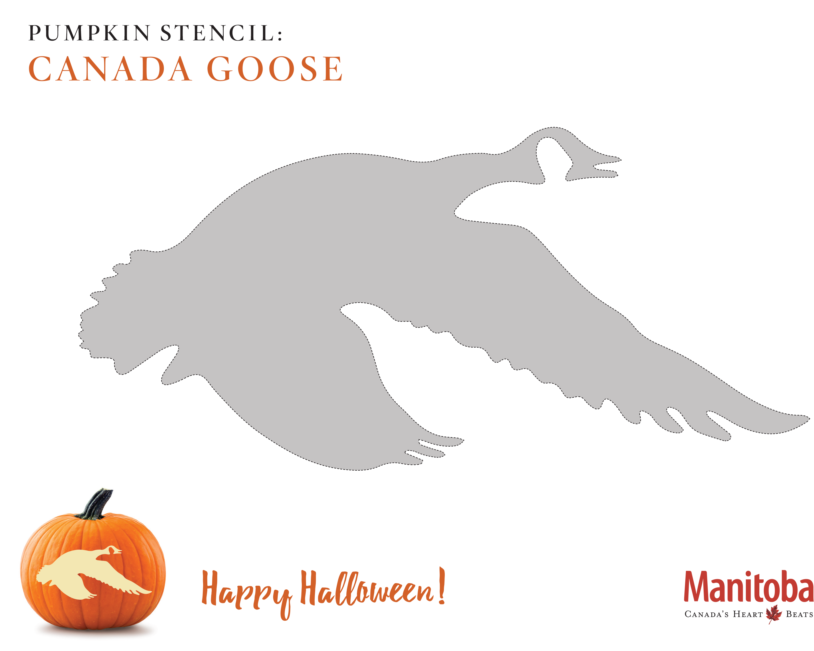 Canadian Goose Pumpkin Carving Stencil