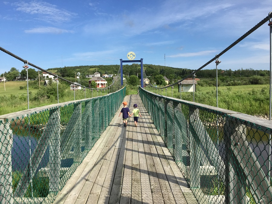 Swinging bridge on the OXbow Trail in Minnedosa