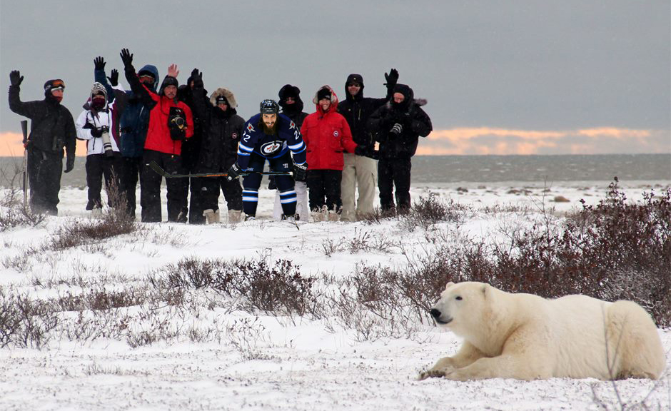 Chris Thorburn as a polar bear monitor in Churchill
