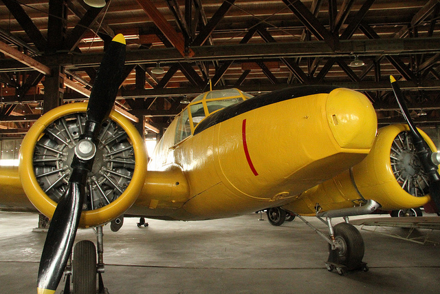 Yellow wing at Commonwealth Air Training Plan Museum in Brandon, Manitoba