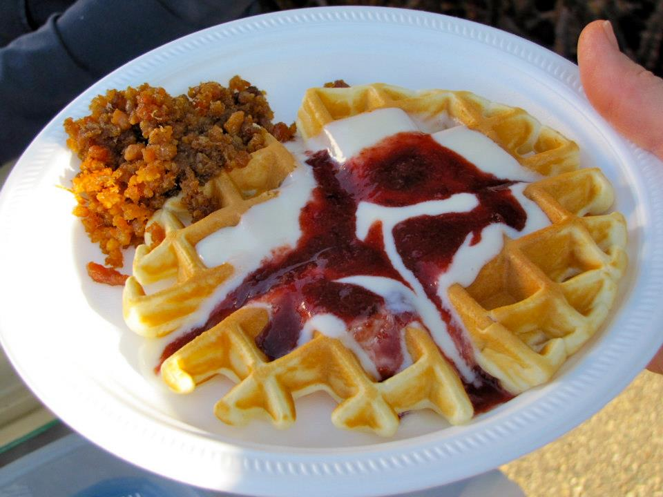 Waffles at Plum Fest in Plum Coulee Manitoba