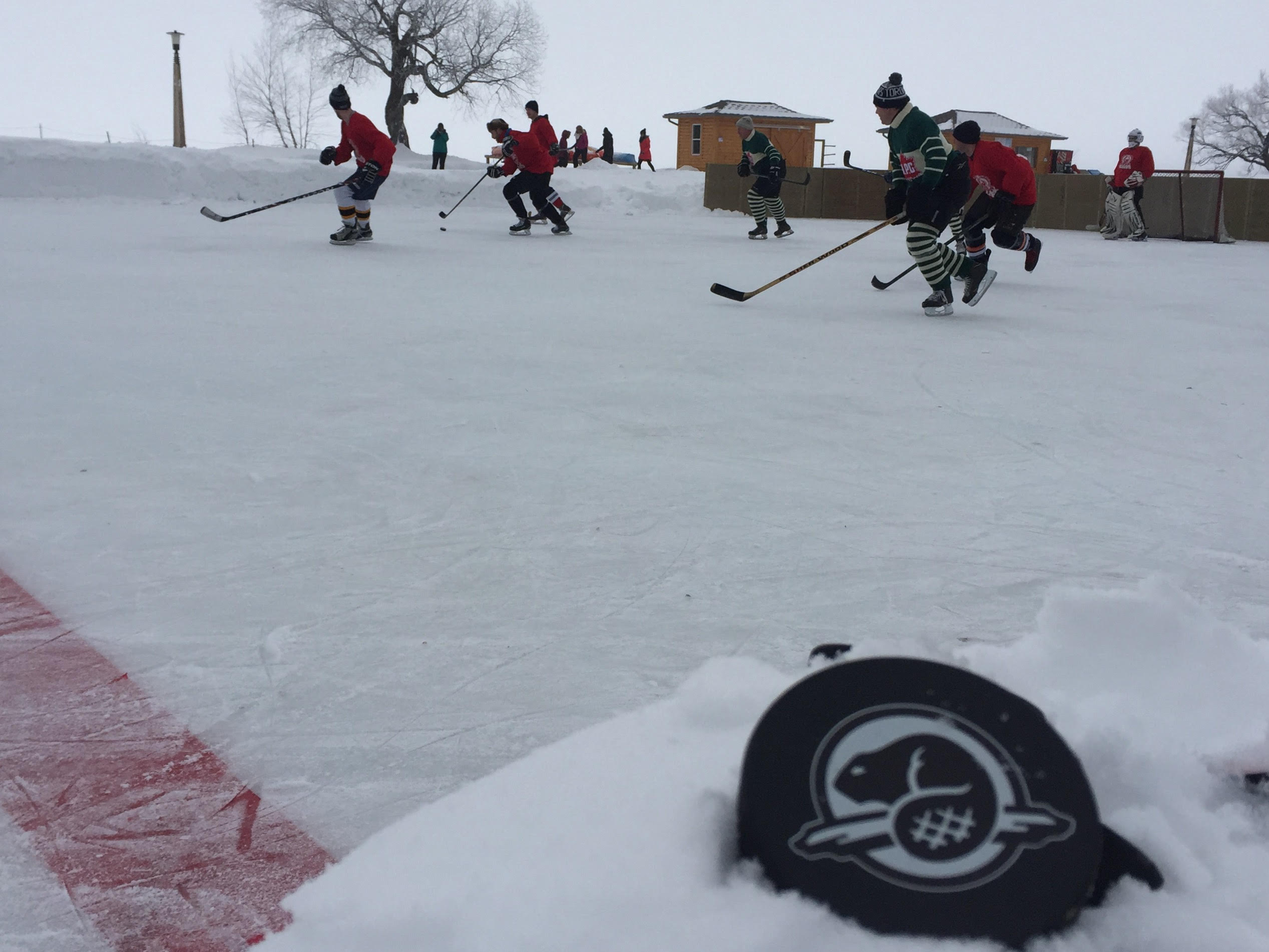 Pond hockey on Clear Lake Canada 150