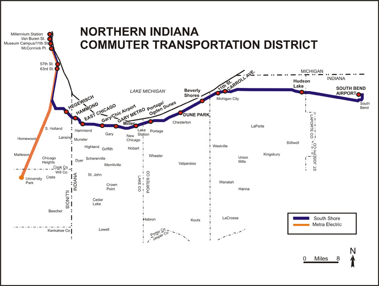 South Shore Train Line Map Chicago to South Bend