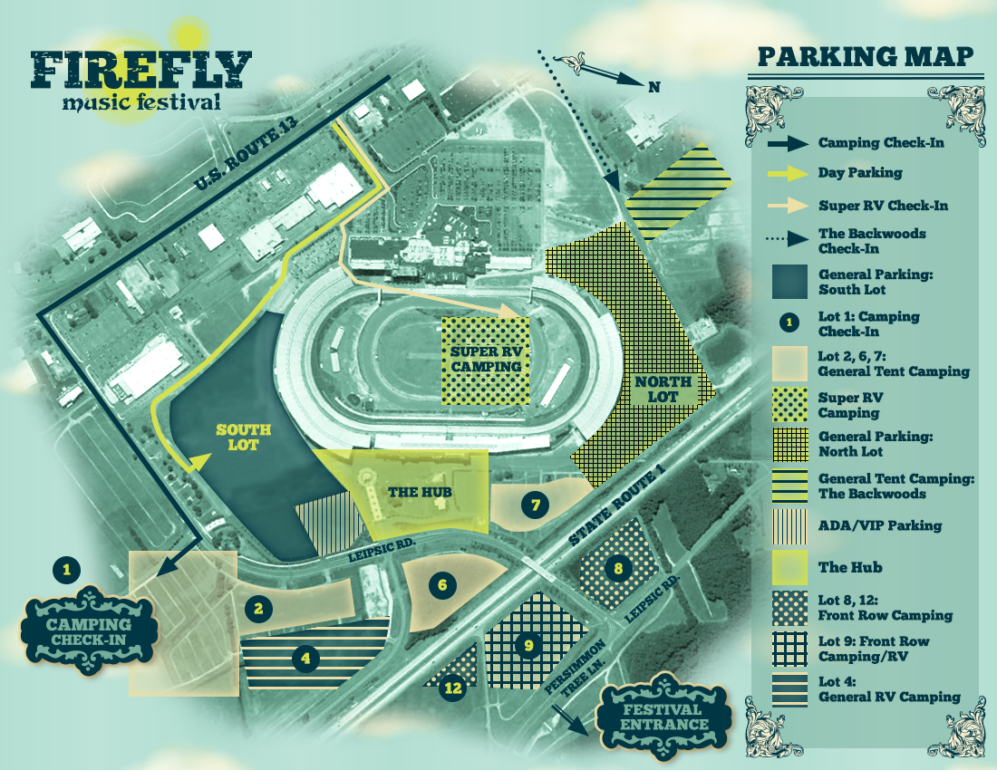 Travel tips for firefly music festival for Location parking