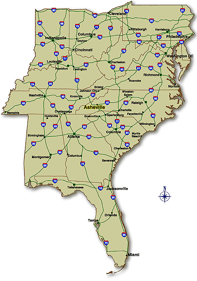Map of Major Highways in the Southeast United States