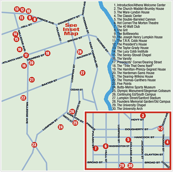 Map Of Athens Ga Downtown Athens, GA Hotel Map | Plan Your Meeting