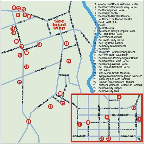Map Of Georgia Athens.Downtown Athens Ga Hotel Map Plan Your Meeting