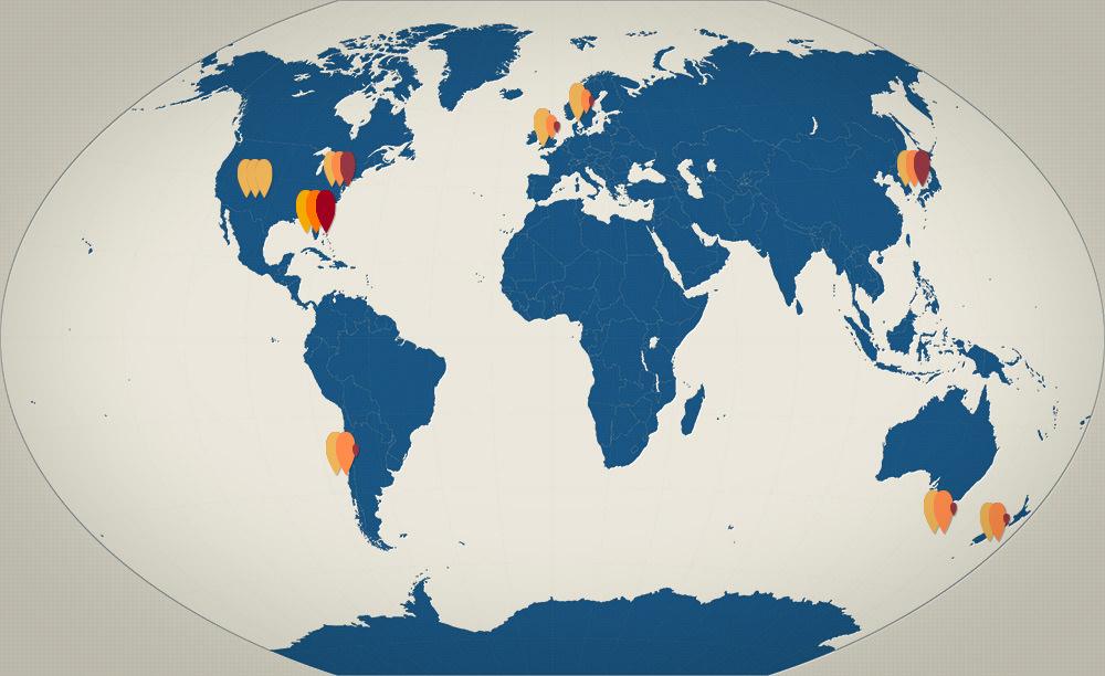 global kaleidoscope world map of fall color