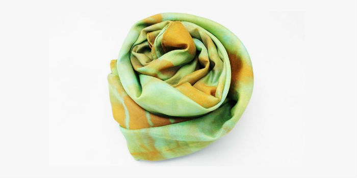Green and yellow Shibori Scarf