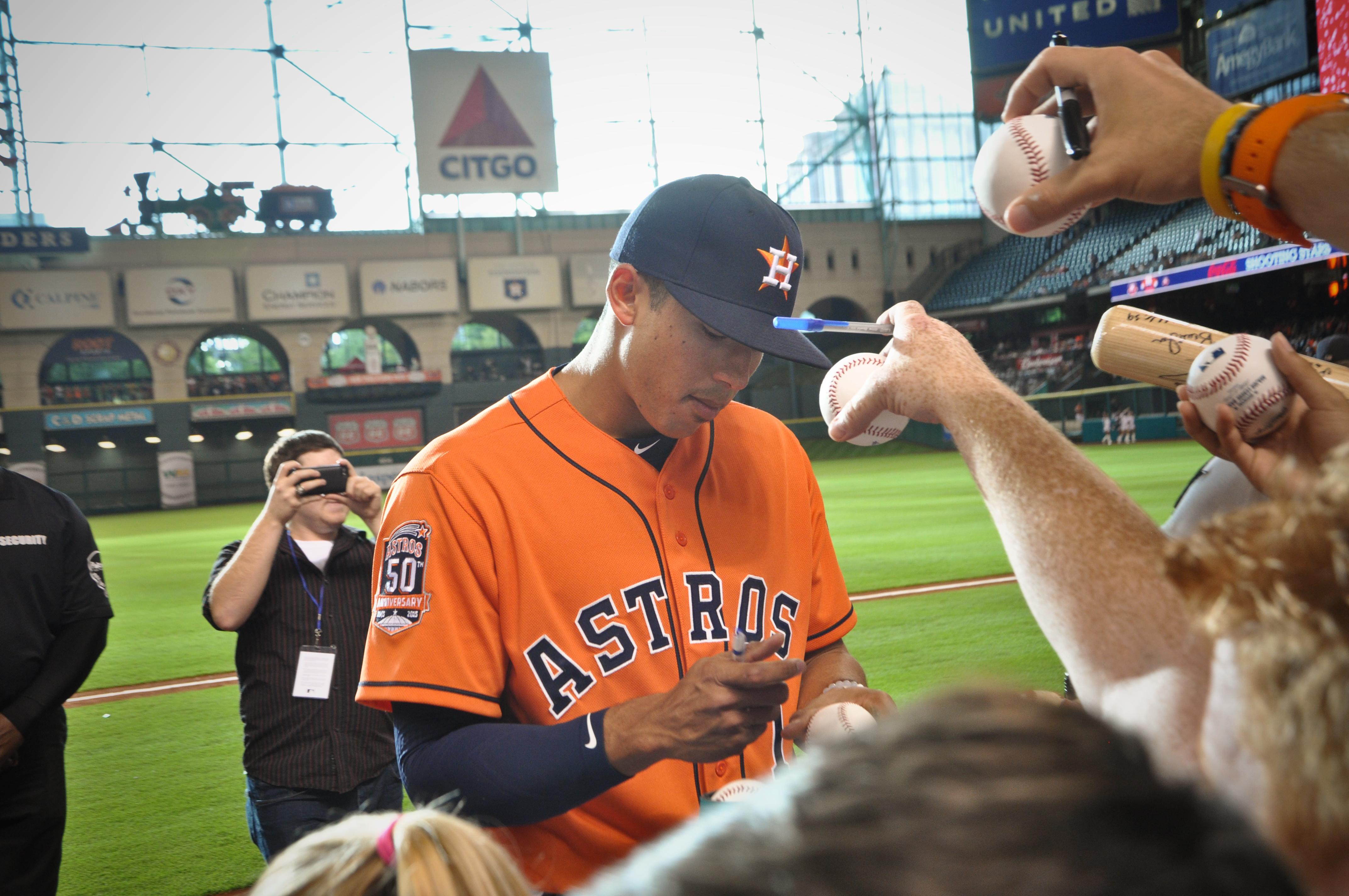 Carlos Correa Signing Baseballs