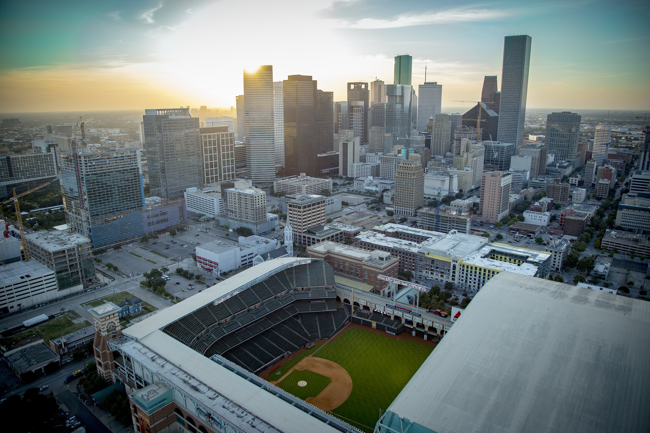 Houston Skyline Minute Maid at Dusk