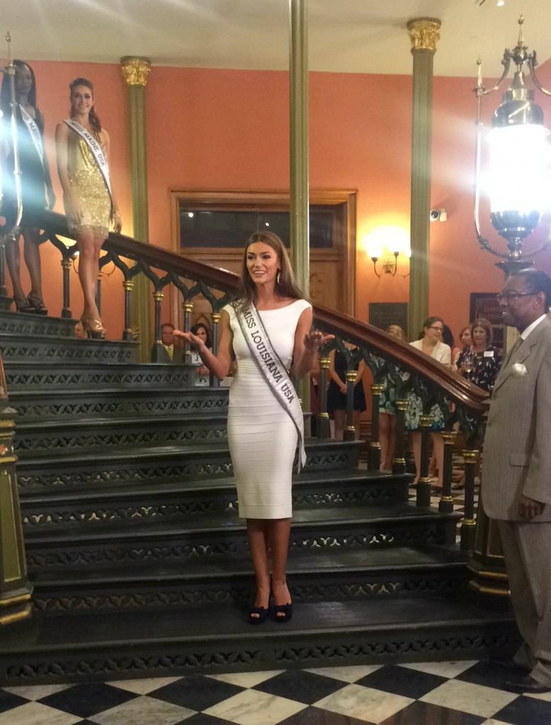 Miss Louisiana USA Candice Bennatt makes her entrance at the Miss USA Welcome Event held at the Old State Capitol.