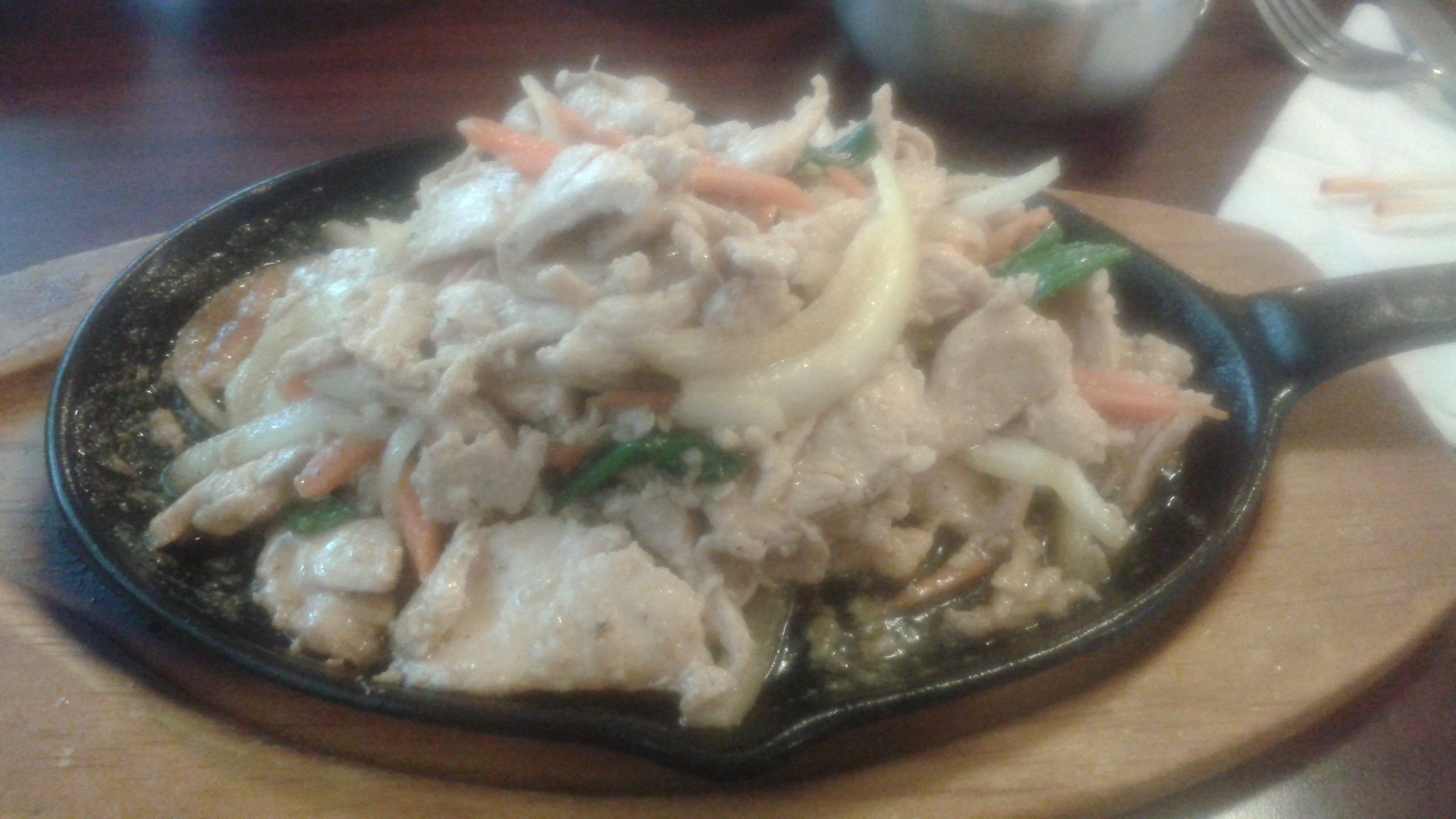 Chicken bulgogi (a hot stoneware dish of vegetables and chicken in soy sauce)