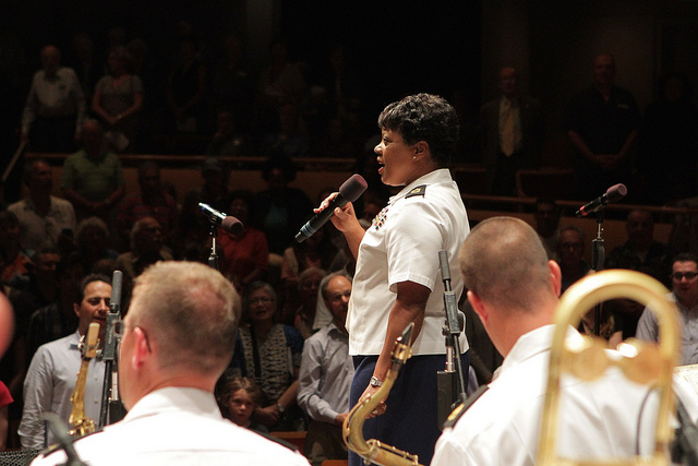 A member of the US Army Chorus sings at Foellinger Theater