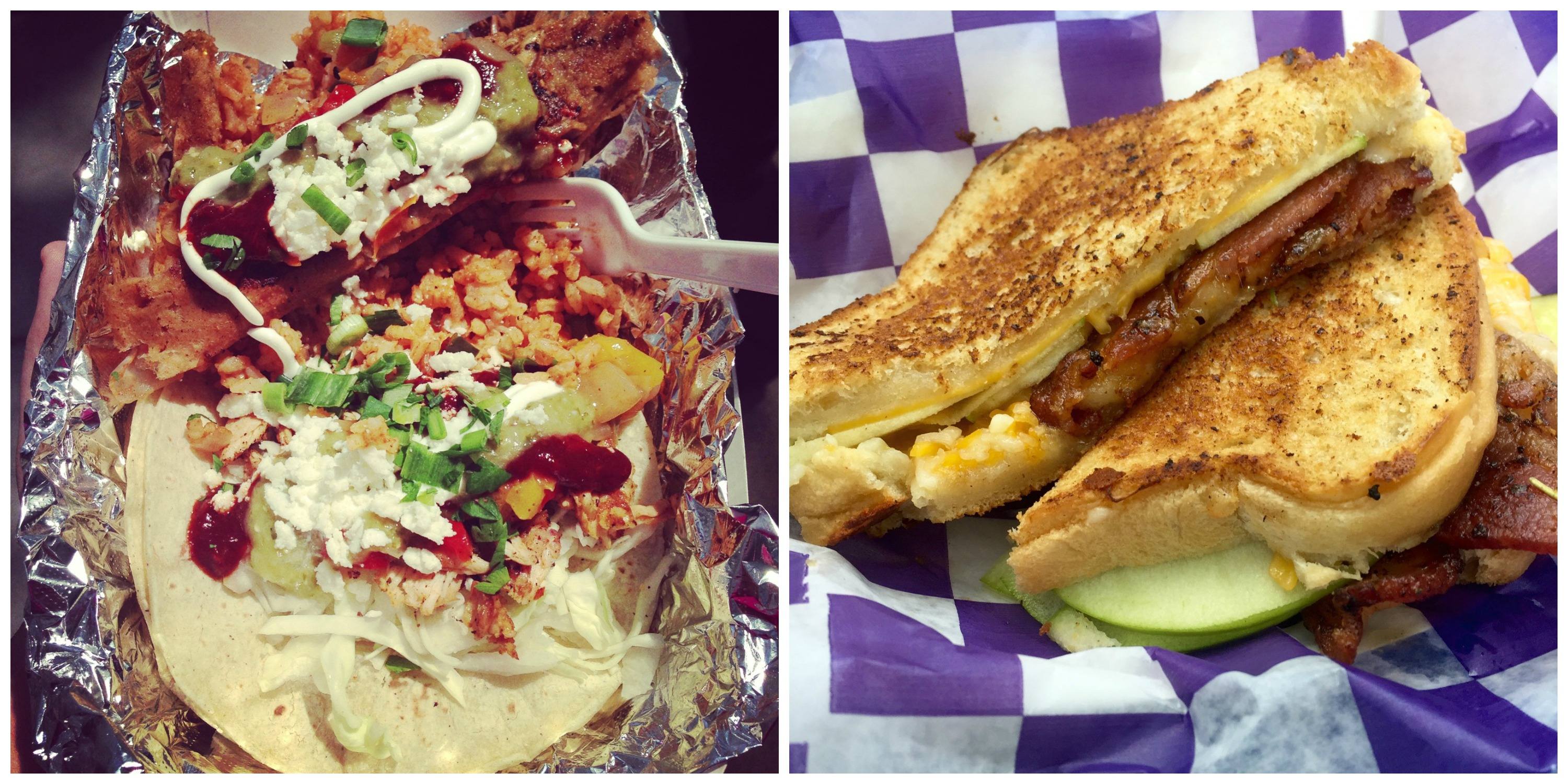 Enjoy tacos from The Getaway Grill, or fancy grilled cheese from Who Cut the Cheese? - just two of the food trucks at Foodstock!