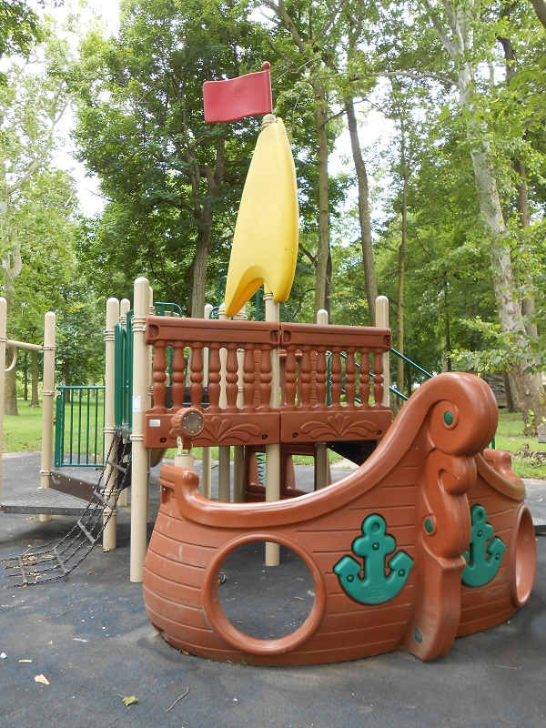 A sailing ship motif playground has plenty of space for kids to have fun.