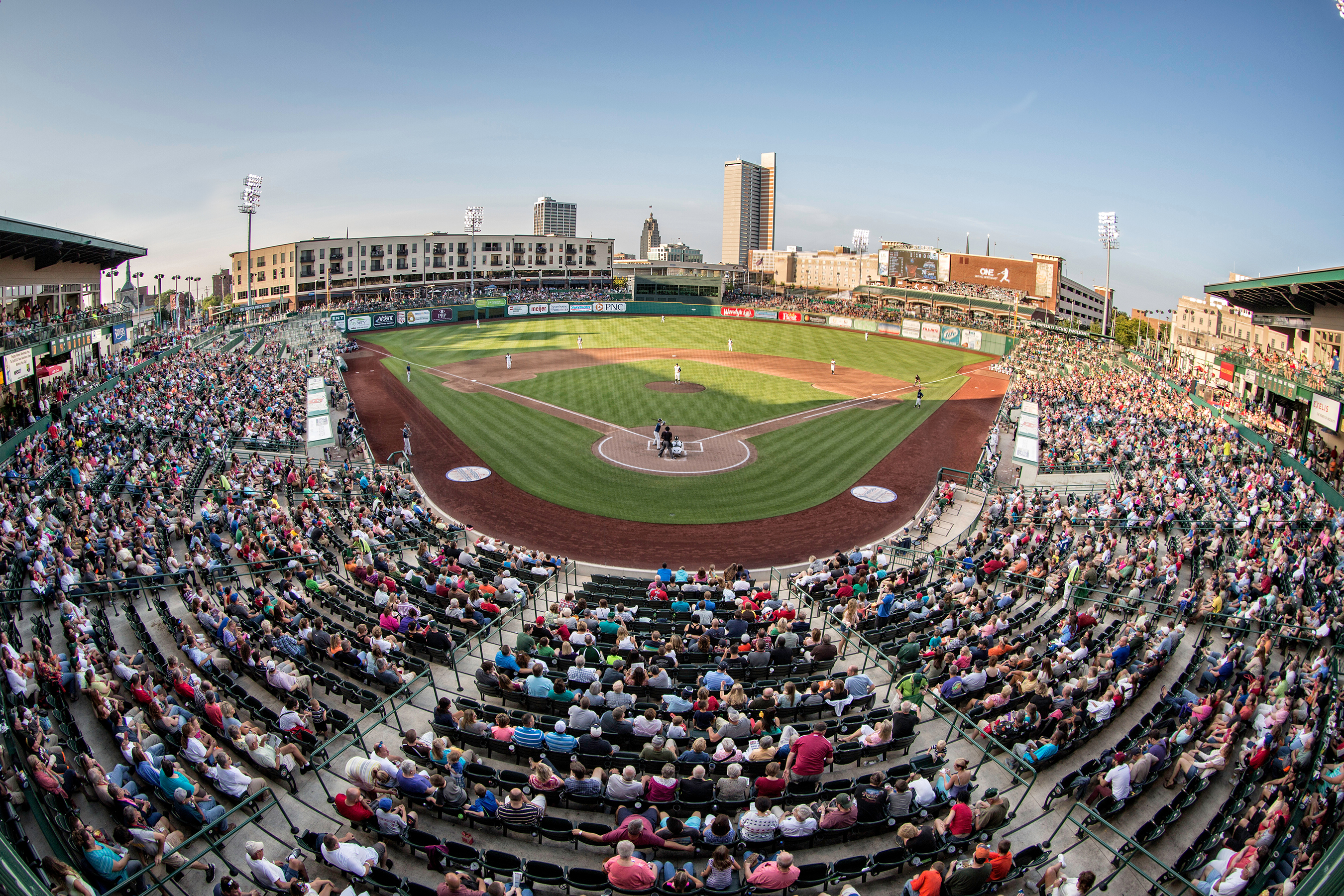 Enjoy taking in a TinCaps baseball game at Parkview Field, complete with a breathtaking view of downtown Fort Wayne.