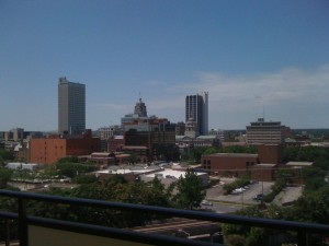 Downtown Fort Wayne as seen from Three Rivers Luxury Apartments