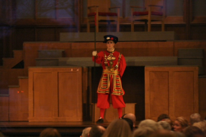 A Beefeater - in full British garb at the Boar's Head and Yule Log Festival at Plymouth Congregational.