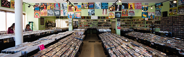 Image of the interior of Guestroom records located in the Western Avenue district of Oklahoma City.
