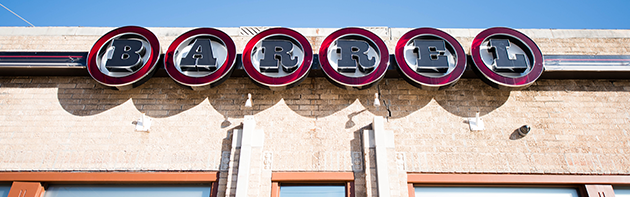 "Image of the exterior of ""The Barrel"" a restaurant located in the Western Avenue District of Oklahoma City."