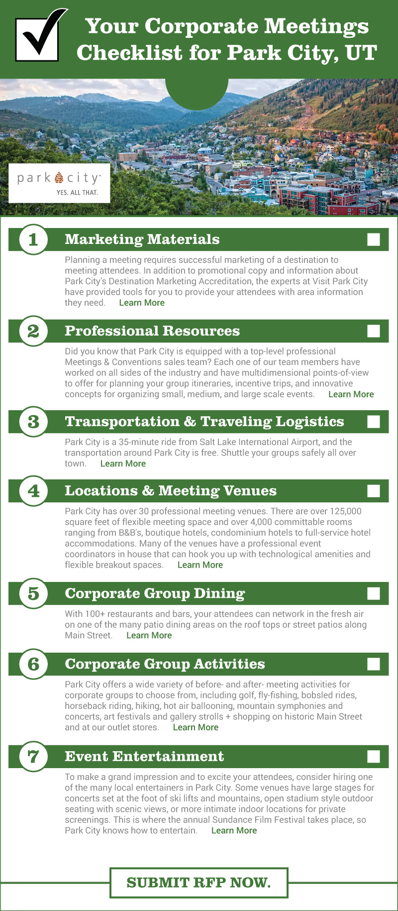 Park City Corporate Meetings Checklist