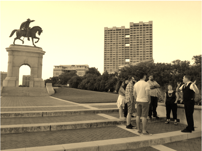 People on a ghost tour in Houston