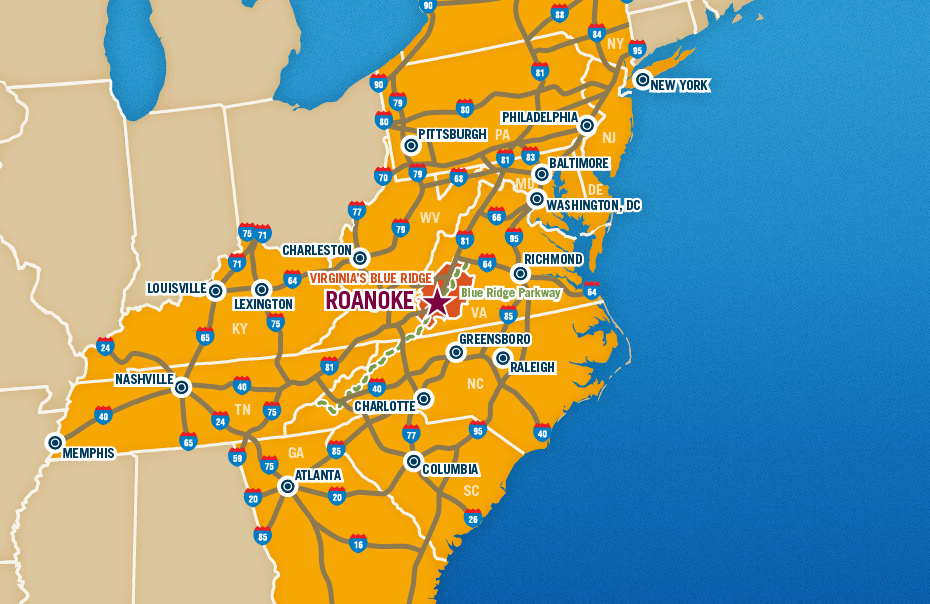 Map Of Roanoke Va Maps of Virginia's Blue Ridge | Roanoke Maps
