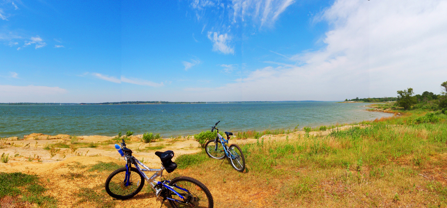 Bikes off of the North Shore Trail on Lake Grapevine
