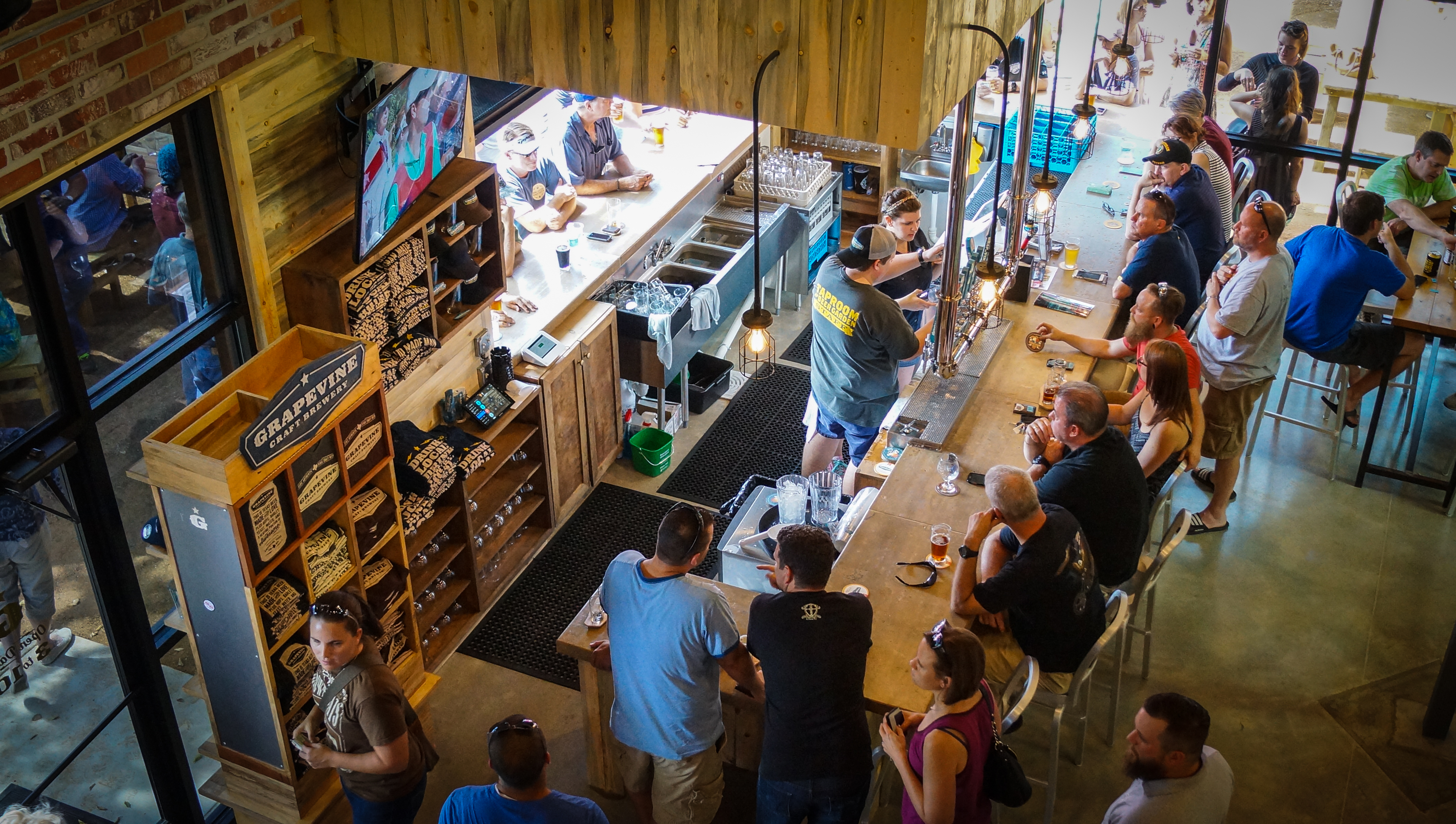 grapevine craft brewery features a two-story taproom