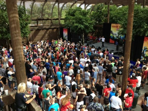 Crowds enjoying a performance at the Rainbows Festival