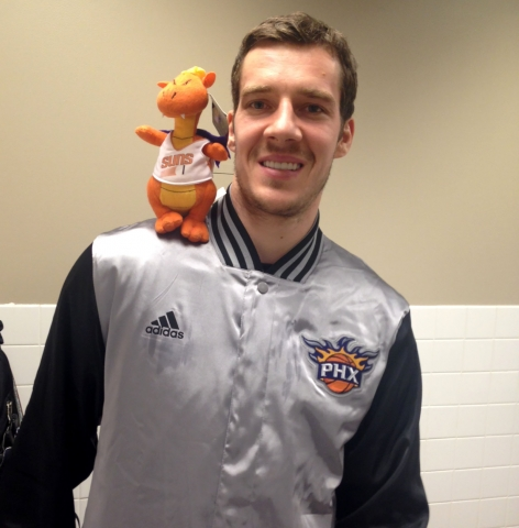 "Goran ""The Dragon"" Dragic's plush pal could be yours this Sunday."