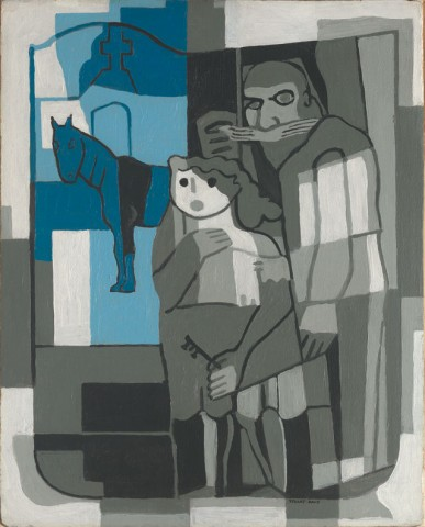 Artist: Stuart Davis (1892-1964), Title: Indian Family, Dated: 1923, Medium: Oil on canvas board, Collection of: Jan T. and Marcia Vilcek, Promised Gift to the Vilcek Foundation