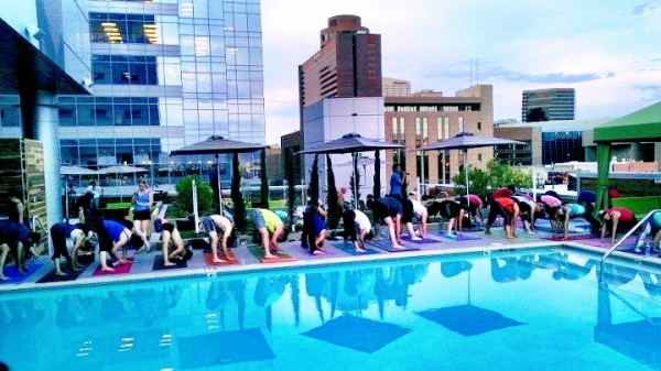 Rooftop yoga at Hotel Palomar