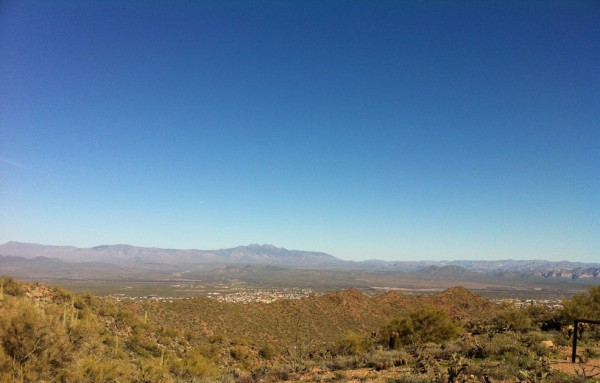 The view of Four Peaks from the Sunrise trail in the McDowell Sonoran Preserve