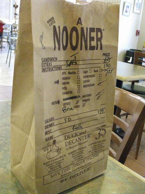Duck Decanter brown bag
