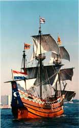 The Half Moon replica in full sail