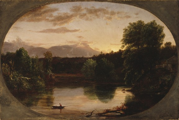 """Sunset, View on the Catskill"" Oil on Wood Panel, 1833, by Thomas Cole"